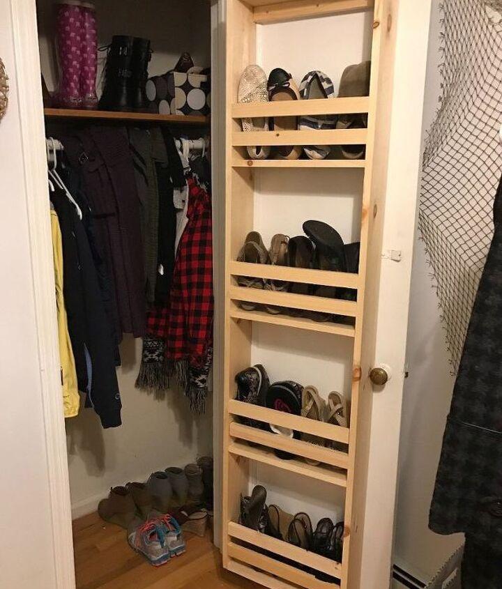 s 30 genius ways to make the most of your closet space, Build a vertical shoe hanger on your door