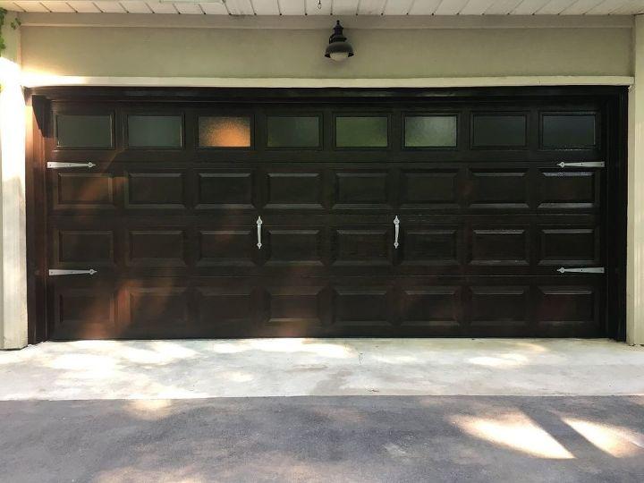 Garage Door Diy Makeover White Fiberglass To Wood Hometalk