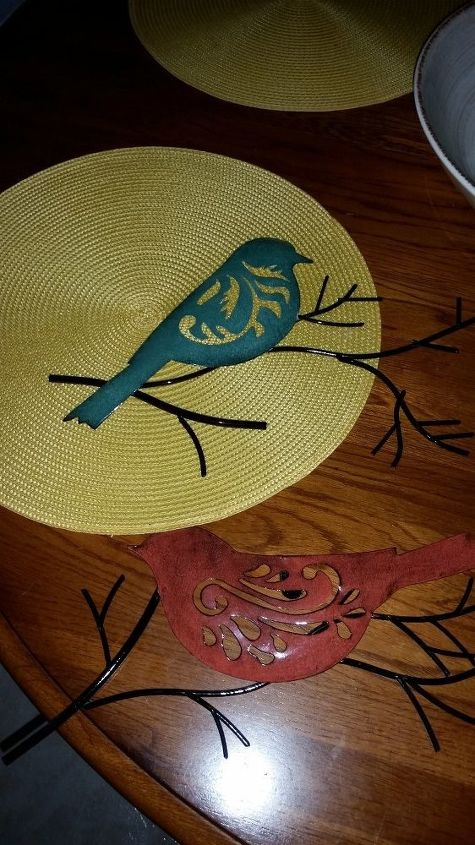 """Used these metal bird wall art as """"stencils""""."""
