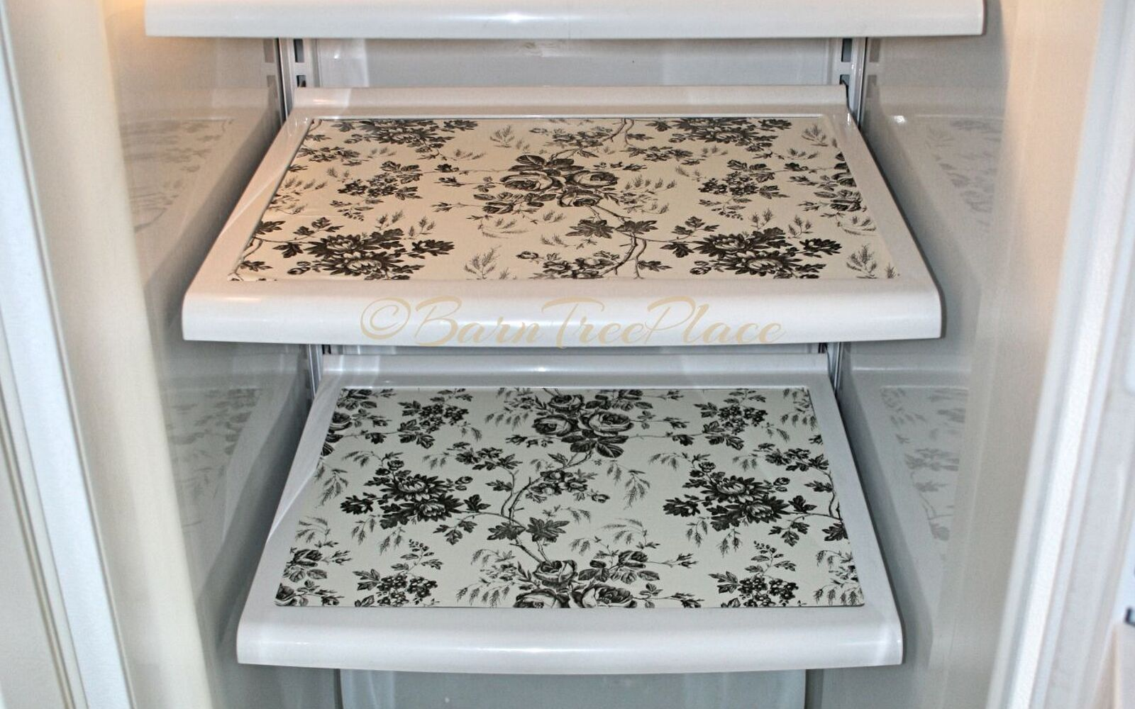 s 31 update ideas to make your kitchen look fabulous, Add a pretty pattern to your fridge shelves