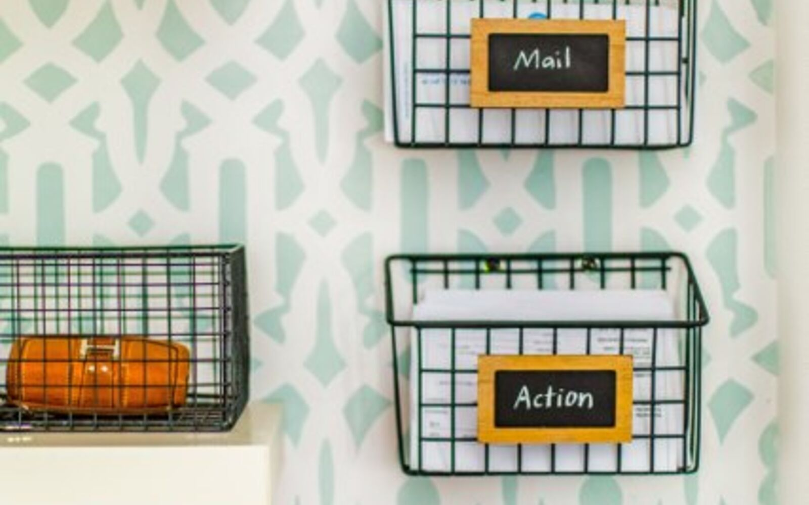 s 31 update ideas to make your kitchen look fabulous, Make a clever wire basket mail station