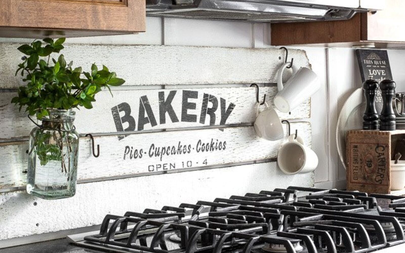 s 31 update ideas to make your kitchen look fabulous, Make a rustic shiplap bakery sign
