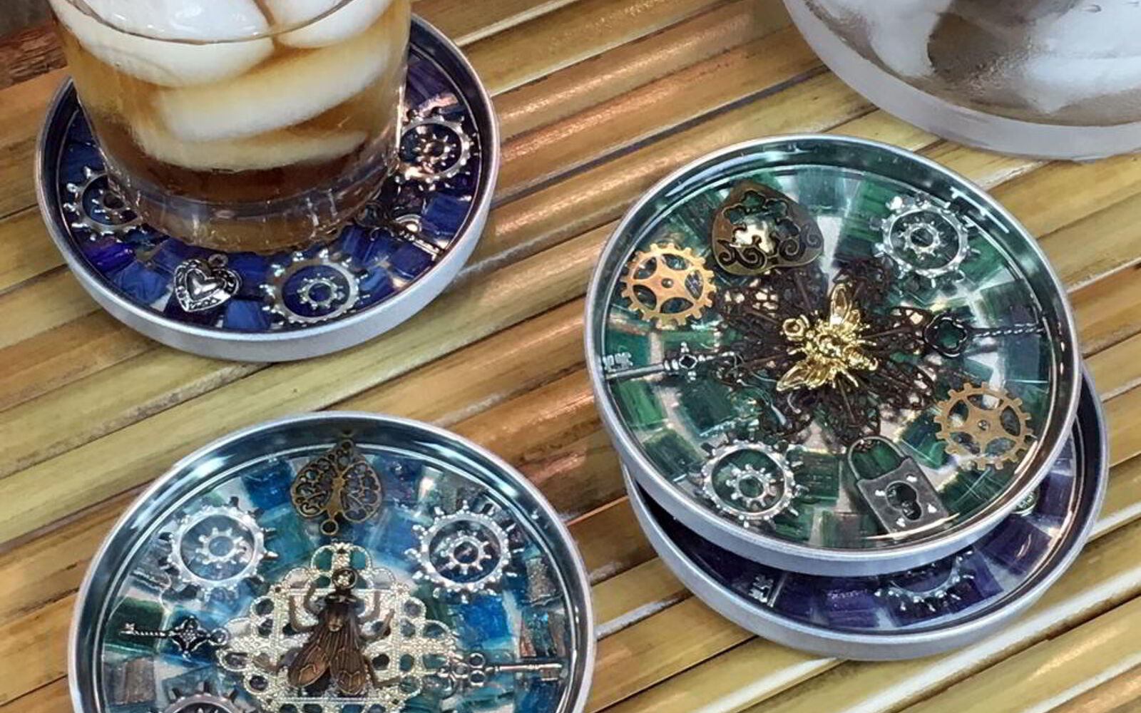 s 31 update ideas to make your kitchen look fabulous, Create some super funky steampunk coasters