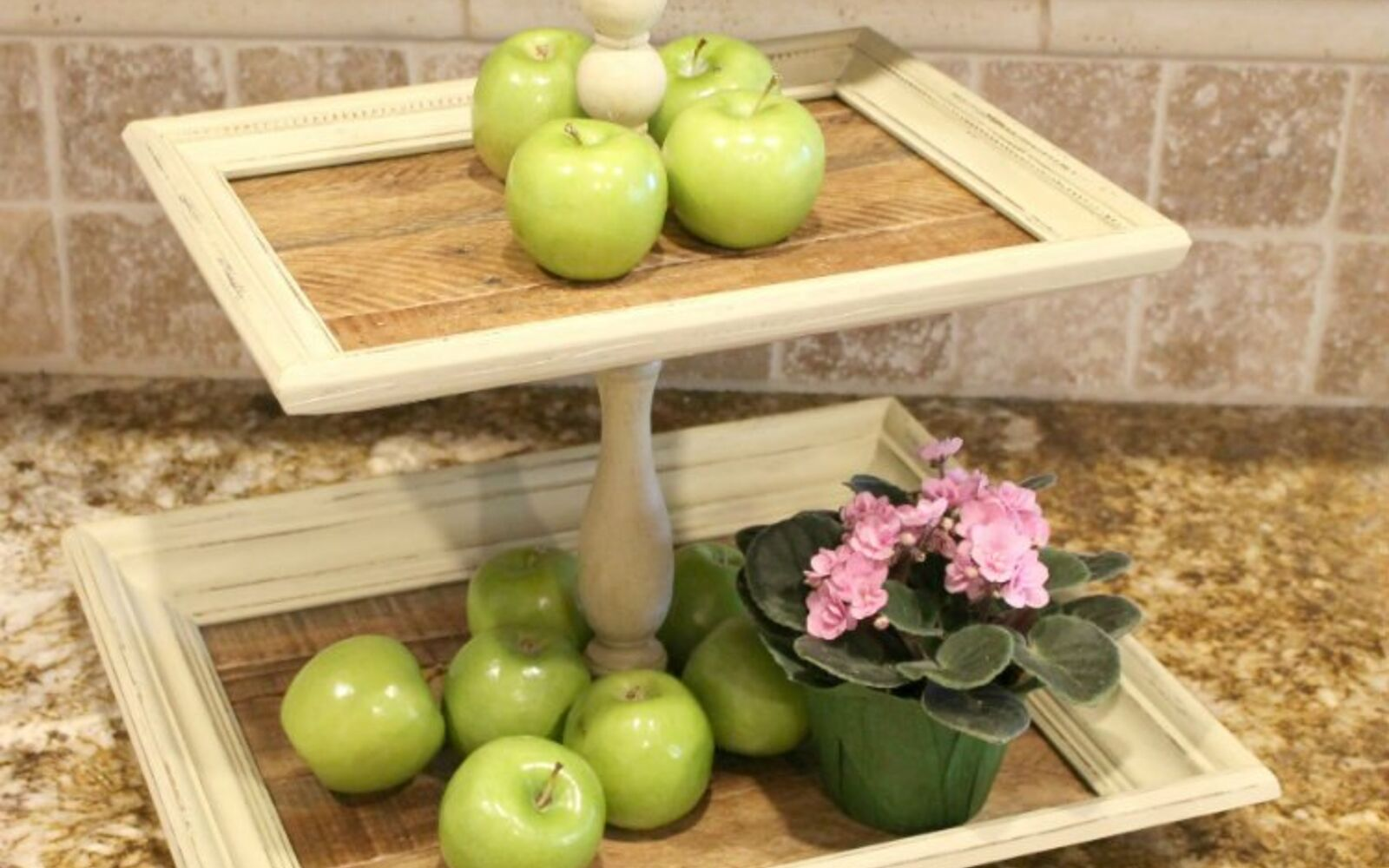 s 31 update ideas to make your kitchen look fabulous, Build a tiered tray countertop space saver