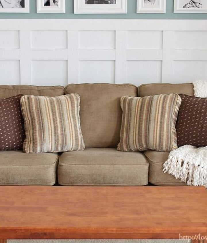 s hide your couch s wear and tear with these great ideas, Make a saggy sofa look brand new