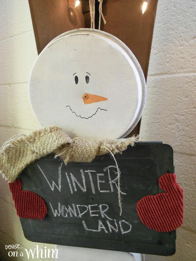 s 30 creative ways to repurpose baking pans, Make an adorable snowman chalkboard