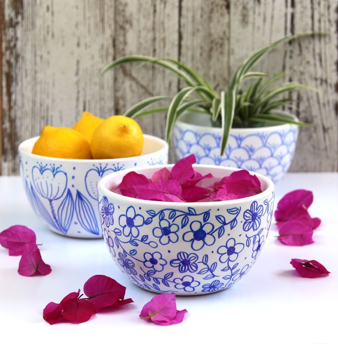 s check out these 30 incredible sharpie makeovers, Floral patterned bowls