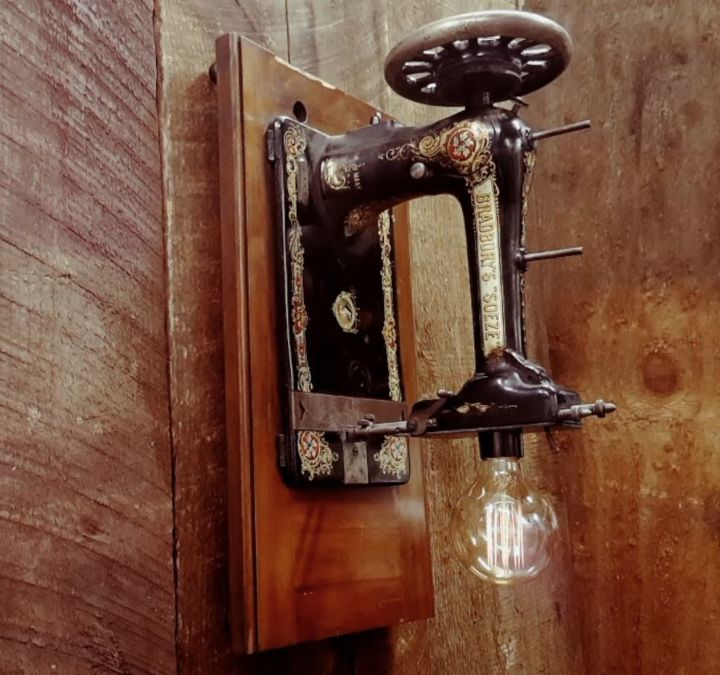Industrial Wall Sconce Repurposed Sewing Machine Edison