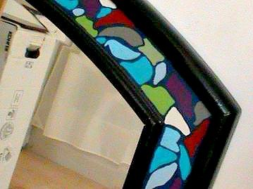 faux mosaic tile frame beveled mirror
