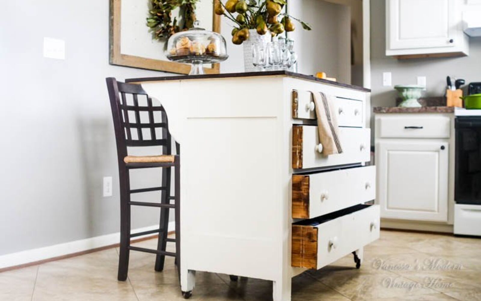 s 31 storage hacks that will instantly declutter your kitchen, Transform a dresser into a kitchen island