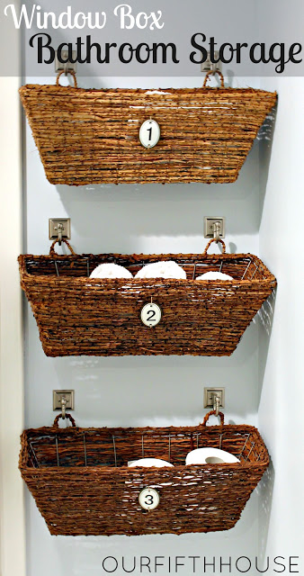 s 32 space saving storage ideas that ll keep your home organized, Hang window boxes on the bathroom wall
