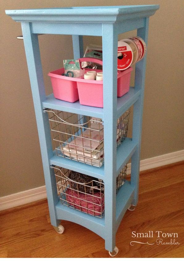 s 32 space saving storage ideas that ll keep your home organized, Recycle a bathroom tower into a craft cart