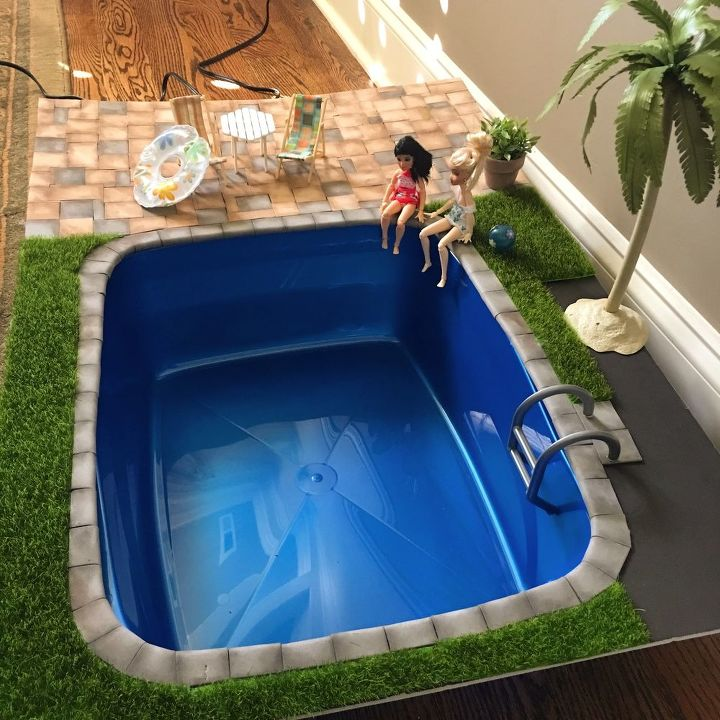 Diy Miniature Doll Swimming Pool And Patio Hometalk