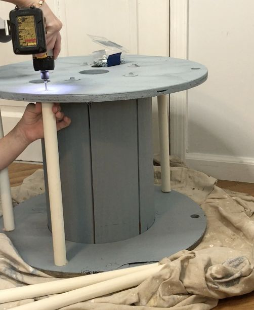 electrical spool bookshelf table