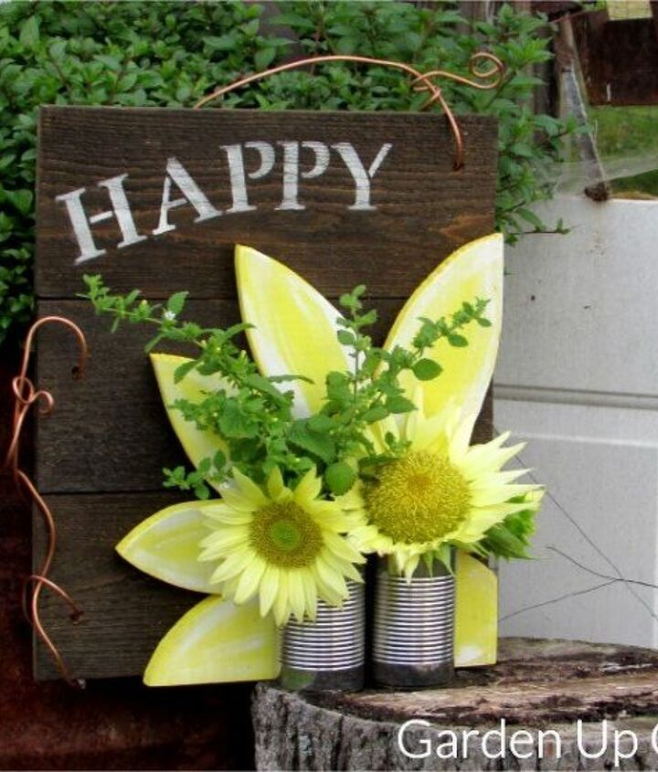 tin can happy sunflower sign