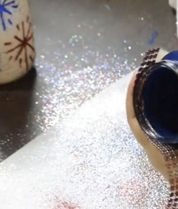 4th of july glitter firework jar upcycle utensil holders for cookout