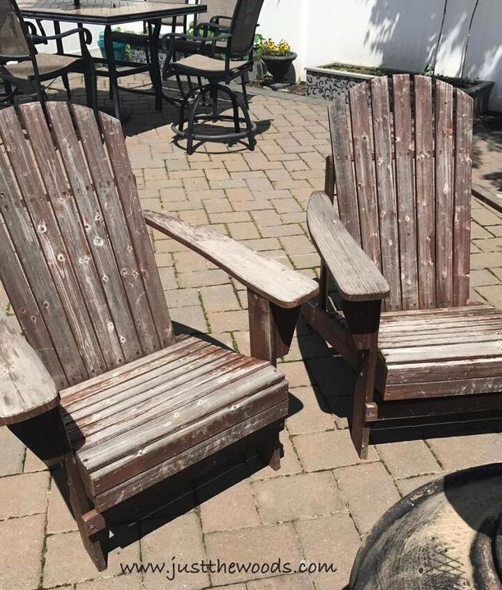freshening up outdoor adirondack chairs with a paint sprayer