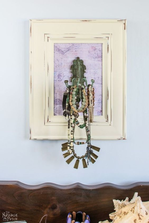 s 30 jewelry organizing ideas that are better than a jewelry box, This frame with a vintage hook