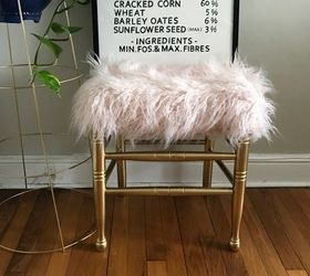Chair Transformed Into Faux Fur Foot Stool