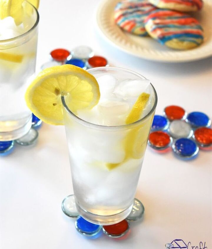 s 30 adorable diy ideas for july 4th, Make patriotic glass gem coasters for drinks