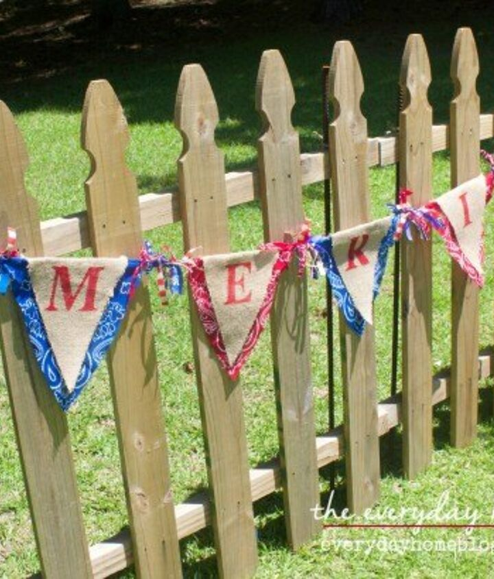 s 30 adorable diy ideas for july 4th, String bandanas into a patriotic banner