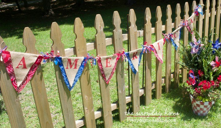 s 30 adorable diy ideas for july 4th, String bandanas into a patriotic banner