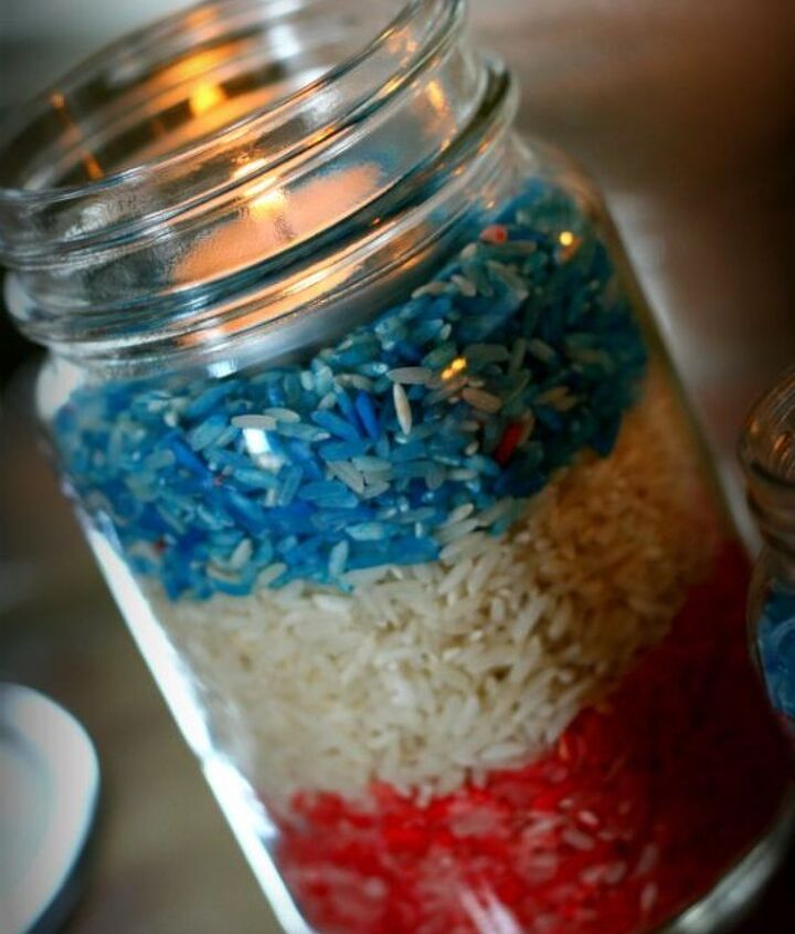 s 30 adorable diy ideas for july 4th, Dye rice for July 4th jar luminaries
