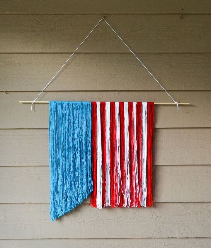 s 30 adorable diy ideas for july 4th, Make a patriotic hanger out of yarn