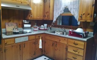 q how can i do a makeover with knotty pine cabinets and walls