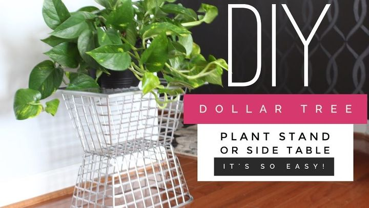 how to create a side table plant stand using dollar tree supplies
