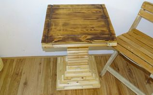 a coffee table made from scrap wood slat bed frames