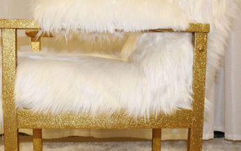 diy gold glitter faux fur chair
