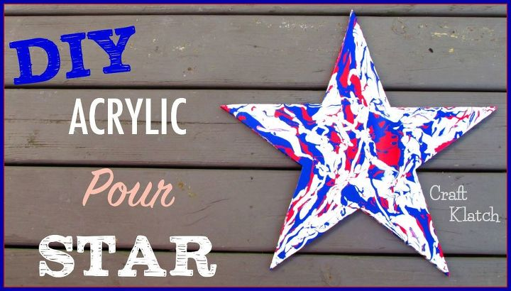 acrylic pour red white and blue star art