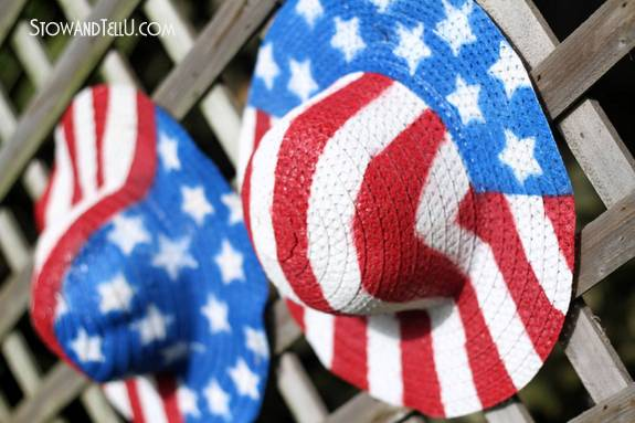 s 30 adorable diy ideas for july 4th, Cover the fence with starred and striped hats