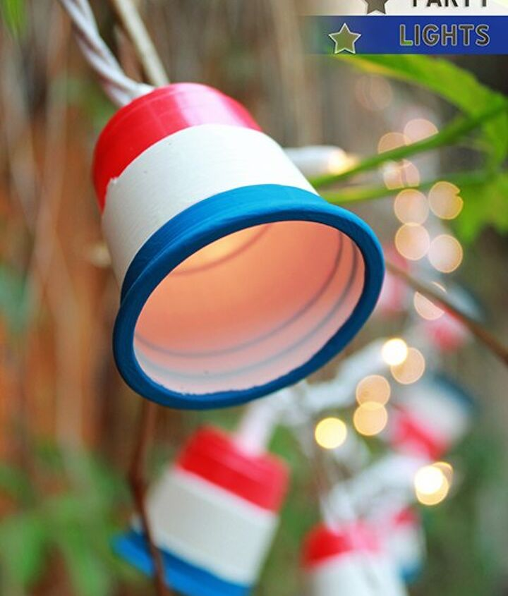 s 30 adorable diy ideas for july 4th, Or pop a painted cup on each bulb of a strand