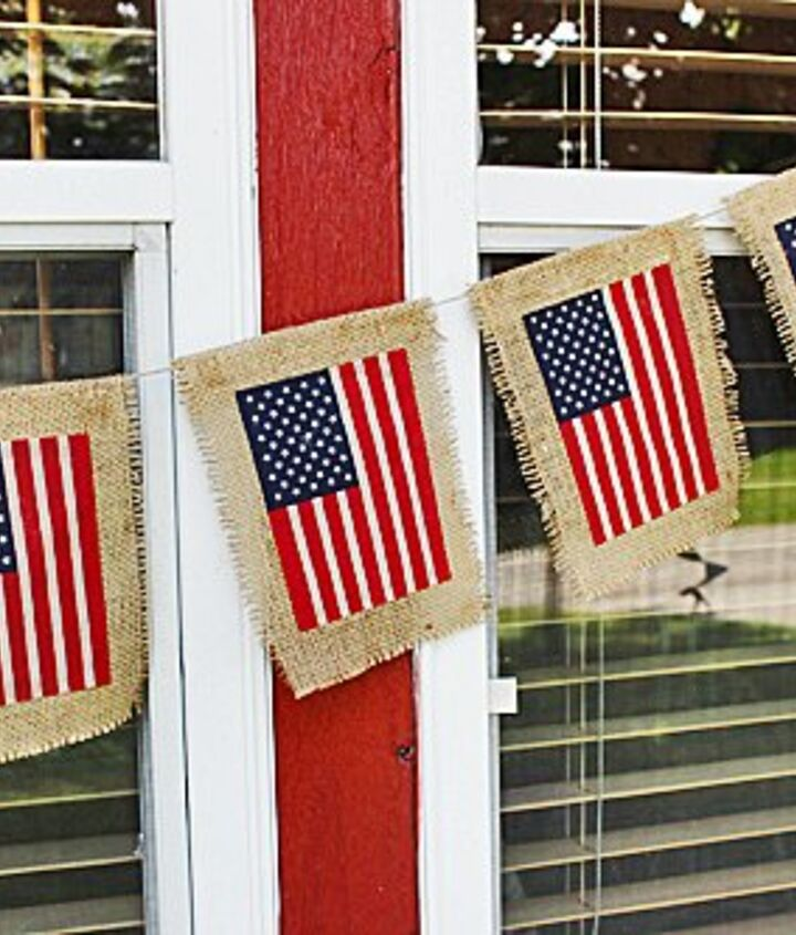 s 30 adorable diy ideas for july 4th, Soak flags in tea for a burlap banner