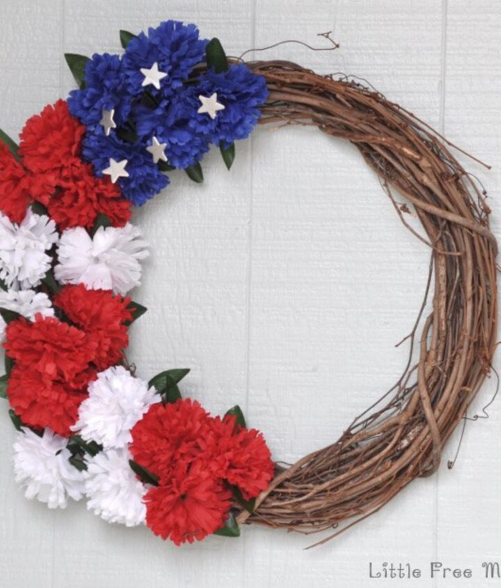 s 30 adorable diy ideas for july 4th, Make a patriotic floral wreath for under 5