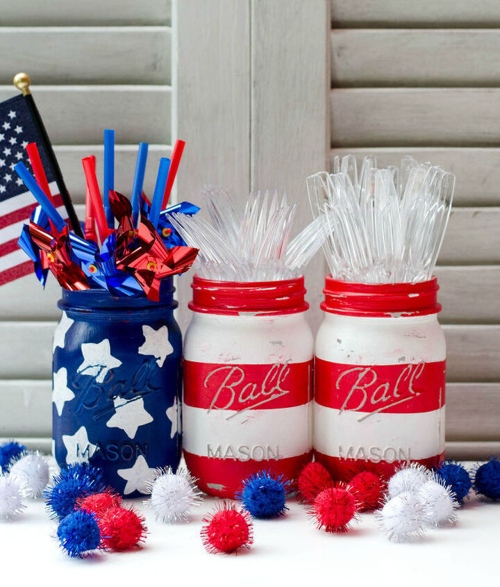 s 30 adorable diy ideas for july 4th, Paint mason jars for a themed centerpiece