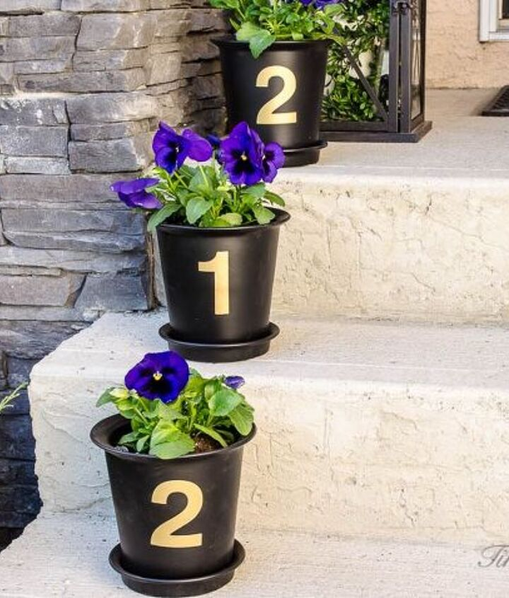 s 30 address signs that ll make your neighbors stop in admiration, Or line numbered pots down your front steps