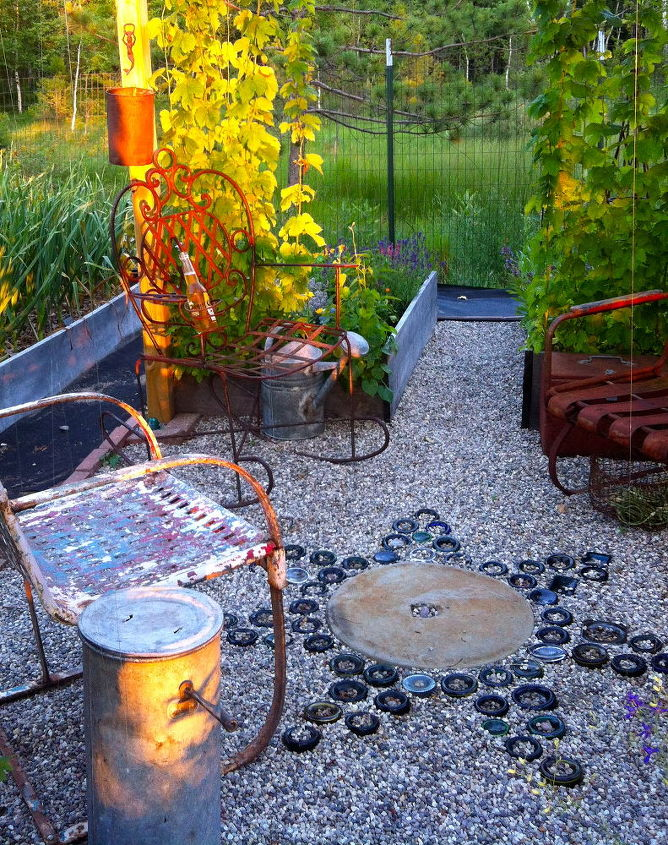 s 30 unbelievable backyard update ideas, Bury bottles in the yard for free mosaic art