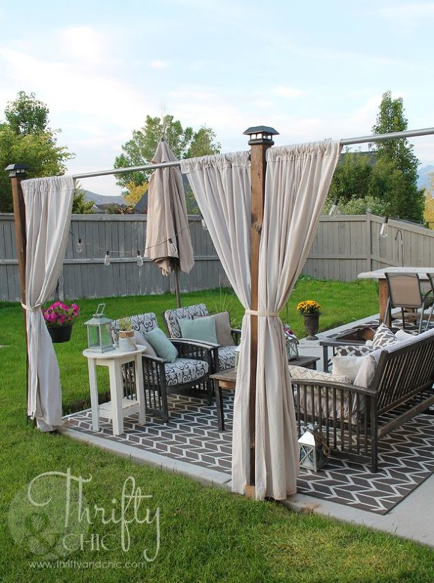 s 30 unbelievable backyard update ideas, Make a shady private spot with drop cloth