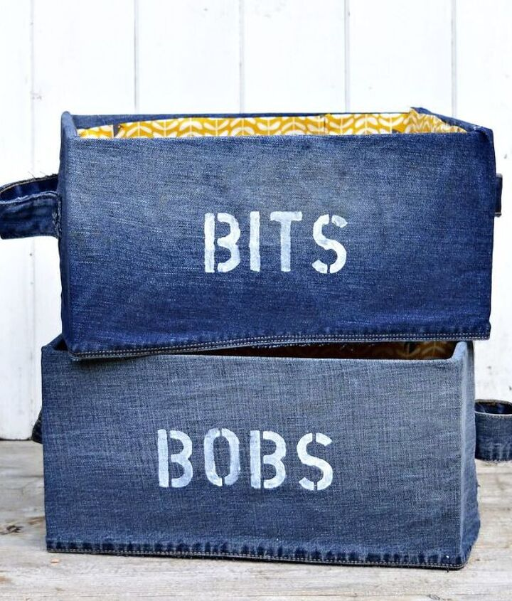 s 30 ways to use old jeans for brilliant craft ideas, Cover An IKEA Box With Denim To Look Cuter
