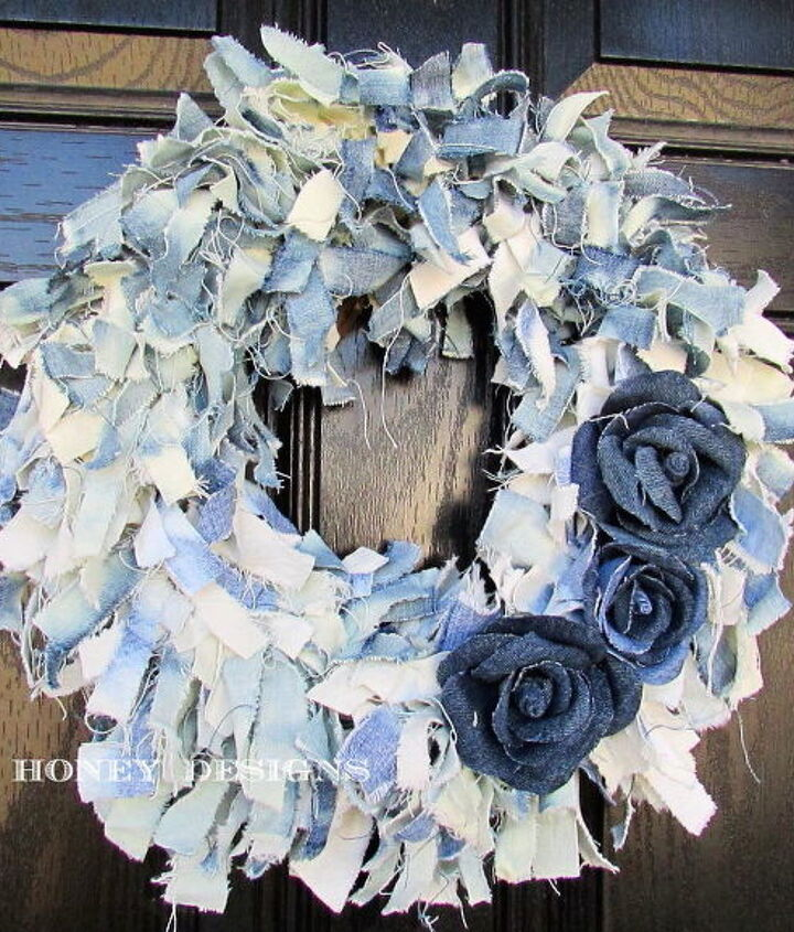 s 30 ways to use old jeans for brilliant craft ideas, Add A Rag And Rose Wreath To Your Front Door
