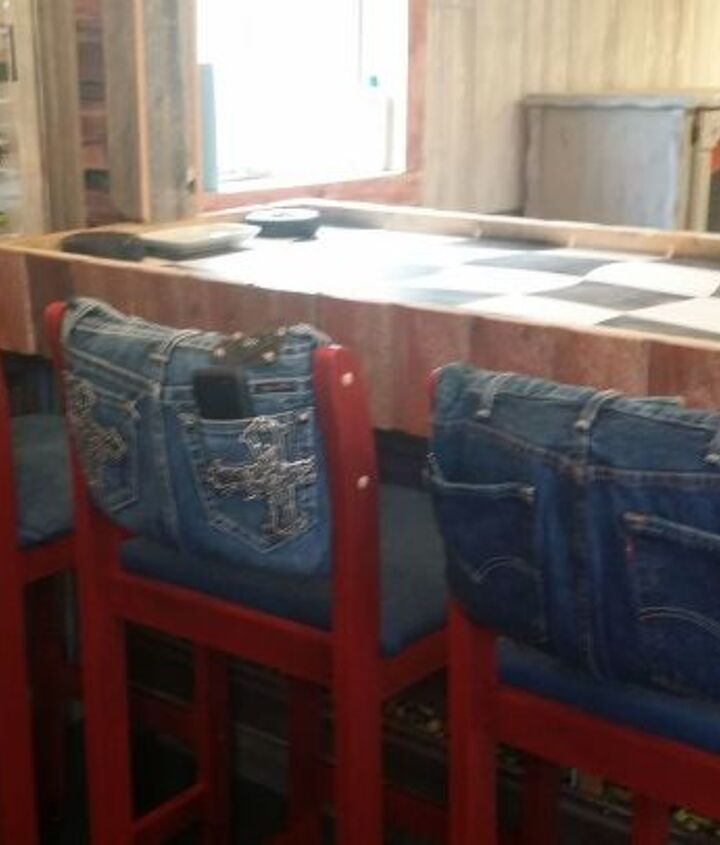 s 30 ways to use old jeans for brilliant craft ideas, Reupholster Worn Bar Stools