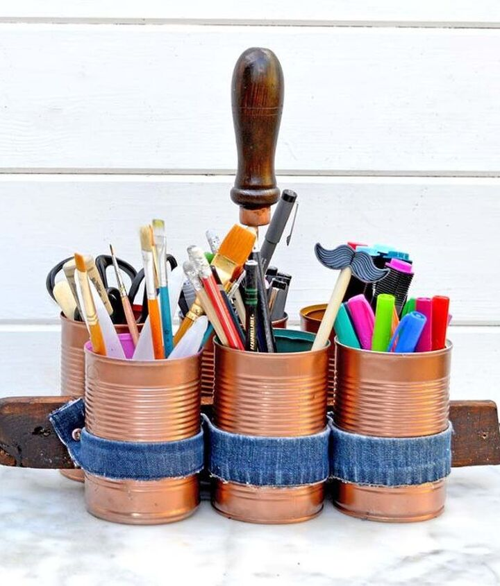 s 30 ways to use old jeans for brilliant craft ideas, Use Bits For An Upcycled Craft Caddy