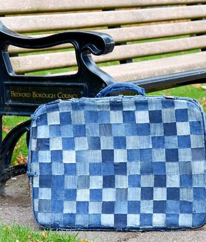 s 30 ways to use old jeans for brilliant craft ideas, Cover An Old Busted Suitcase In Jean Squares