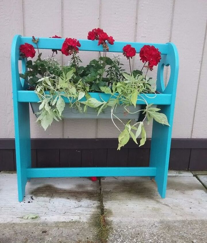 quilt rack turned outdoor planter