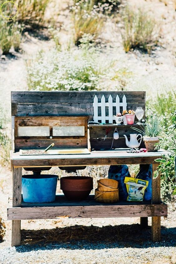 diy potting bench with old sink