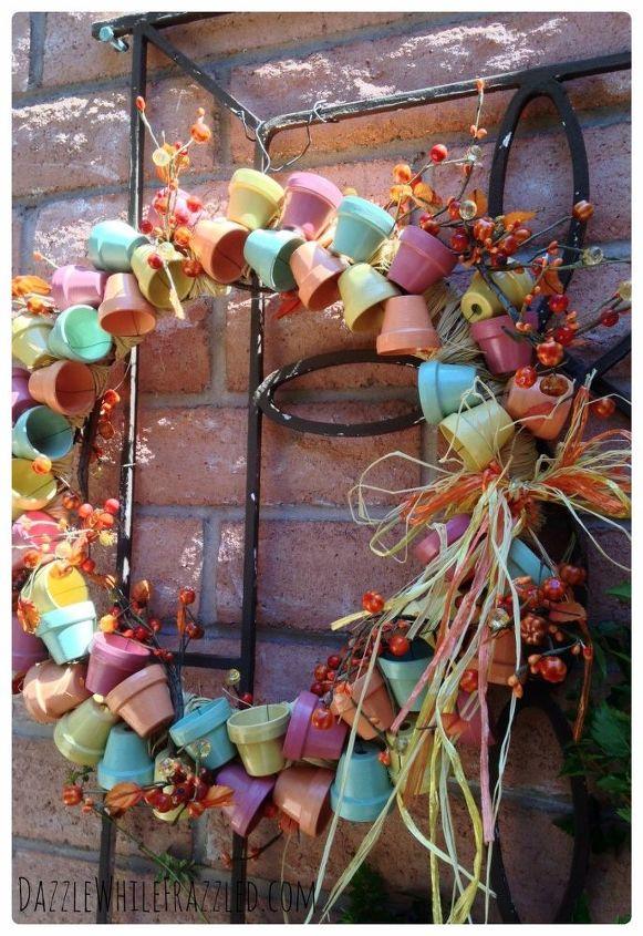 s 30 fabulous wreath ideas that will make your neighbors smile, Connect mini terra cotta flower pots