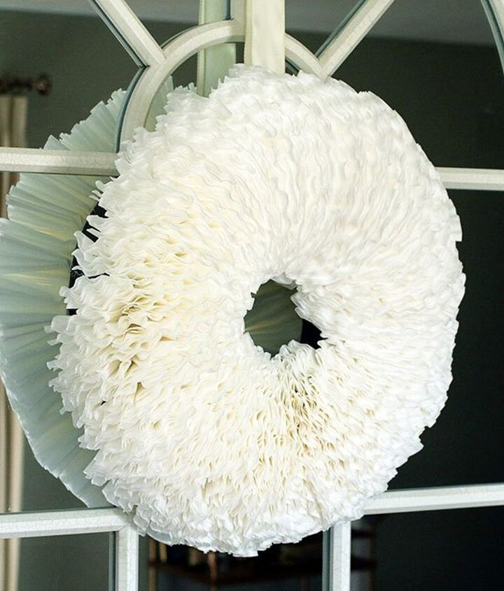 s 30 fabulous wreath ideas that will make your neighbors smile, Display your caffeine addiction with filters